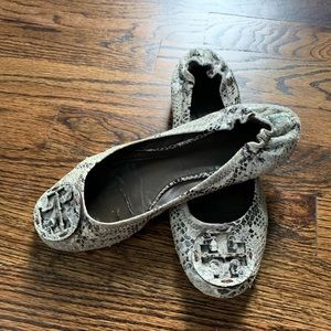 Tory Burch Snakeskin-Embossed Leather Flats SZ 6.5